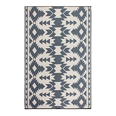 Fab Habitat 810327028980 Miramar Reversible, Indoor/Outdoor Weather Resistant Floor Mat/Rug, (4' x 6 Gray