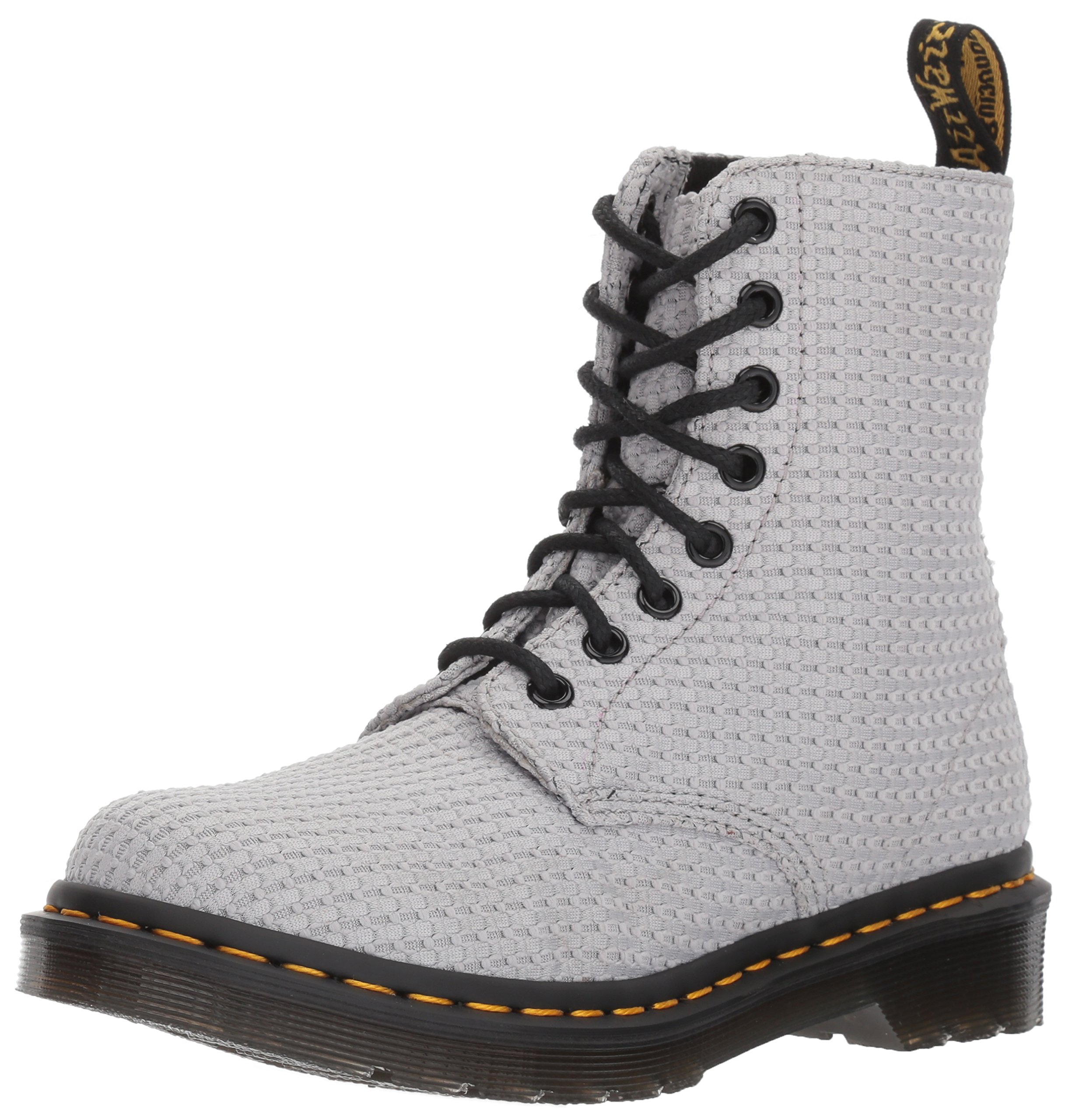 Dr. Martens Women's Page WC Fashion Boot, Mid Grey Waffle Cotton, 6 Medium UK (8 US)