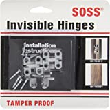 """SOSS Mortise Mount Invisible Hinges with 4 Holes, Zinc, Satin Chrome Finish, 1"""" Leaf Height, 3/8"""" Leaf Width, 15/32"""" Leaf Thickness, #5 x 3/4"""" Screw Size (1 Pair)"""