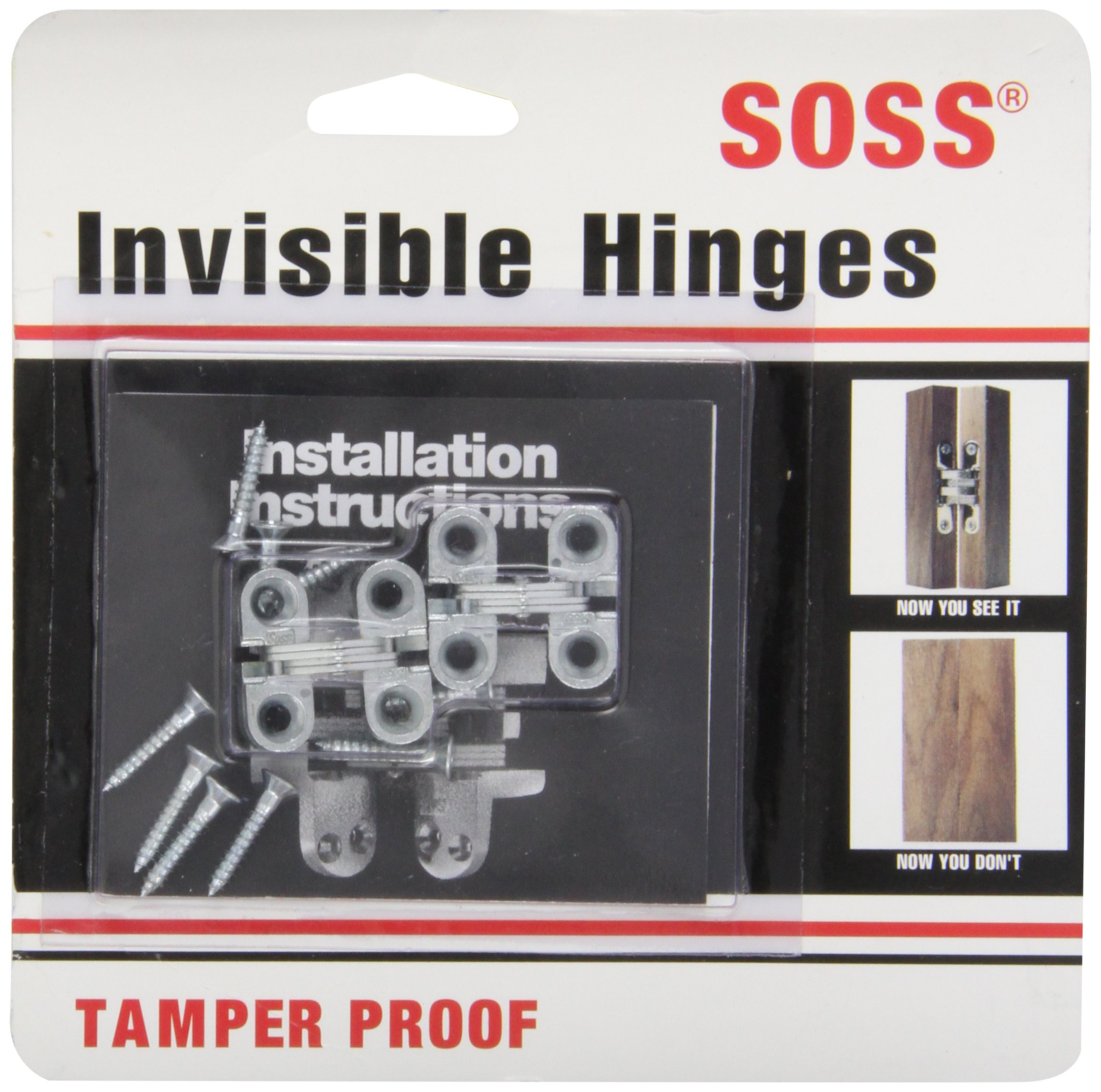 SOSS Mortise Mount Invisible Hinges with 4 Holes, Zinc, Satin Chrome Finish, 1'' Leaf Height, 3/8'' Leaf Width, 15/32'' Leaf Thickness, #5 x 3/4'' Screw Size (1 Pair)