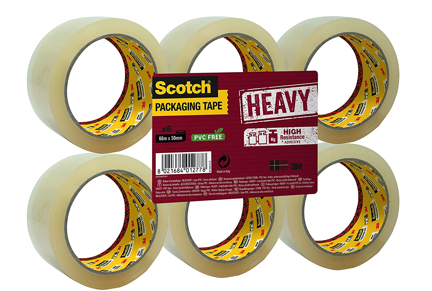 Scotch A Greener Choice 50 x 66 mm Packaging Tape Rolls, Transparent, Pack of 6 3M GC5066T6