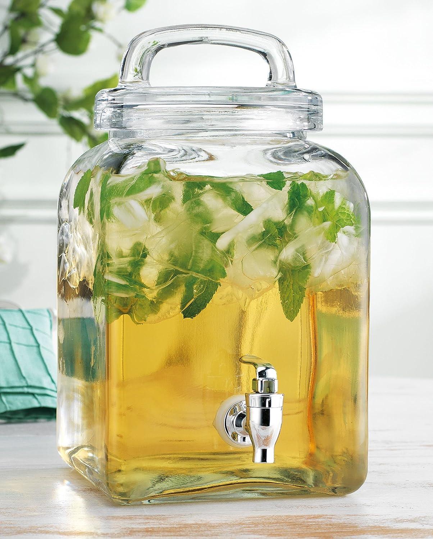 Elegant Home Square Beverage Drink Dispenser Glass (1.32 ) Gallon Loop Lid with Easy Flow Spigot.