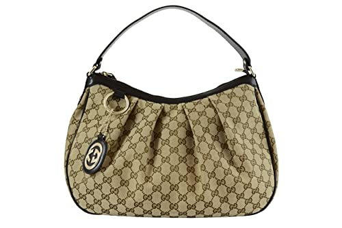 Gucci Sukey Hobo Monogram marrone beige cuoio borsa borsetta  Amazon.it   Scarpe e borse 4f4419aa65d3