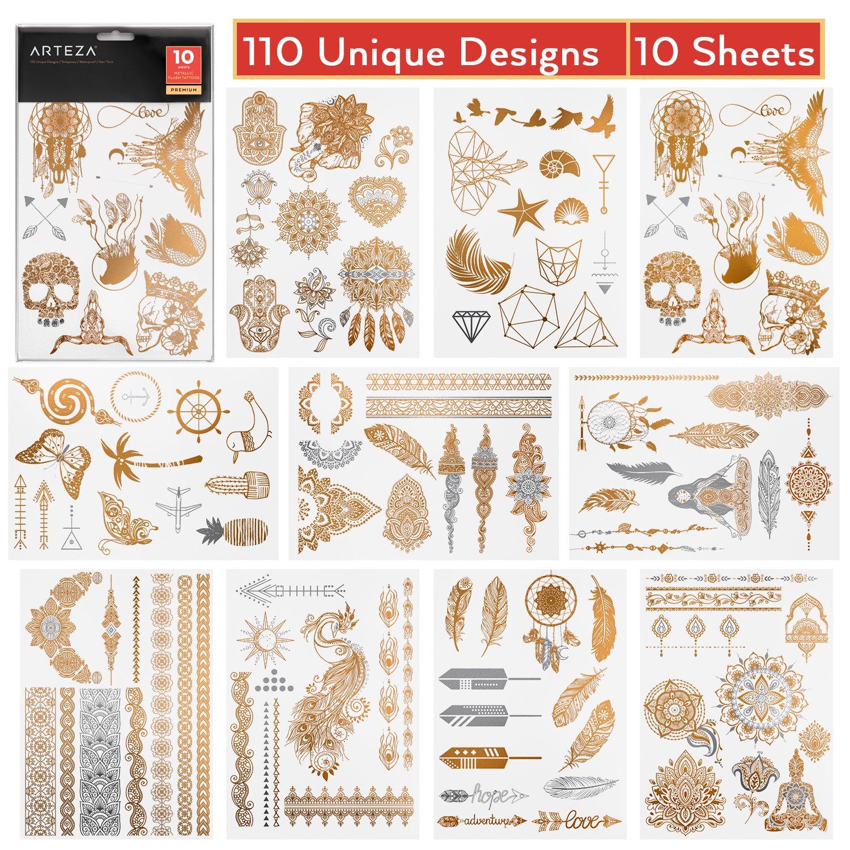 Arteza Temporary, Metallic, Henna Body Tattoos, Gold & Silver Flash Tattoo Sheets, 110 Unique Designs (10 Sheets)