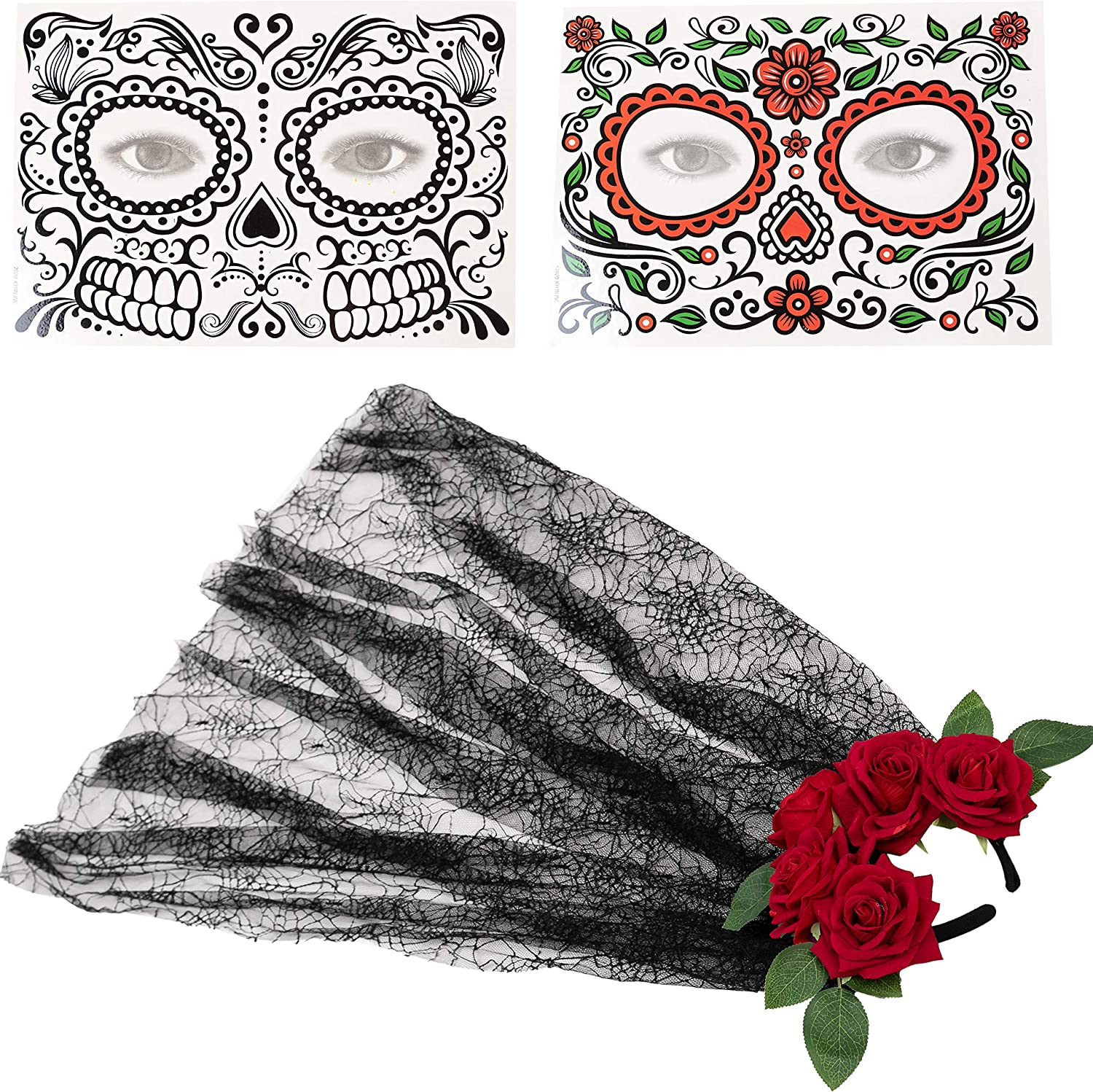 Spooktacular Creations Day of The Dead Flower Rose Crown Headband with 2 Face Tattoos for Halloween Party Mexican Dia de Los Muertos Costume Accessories