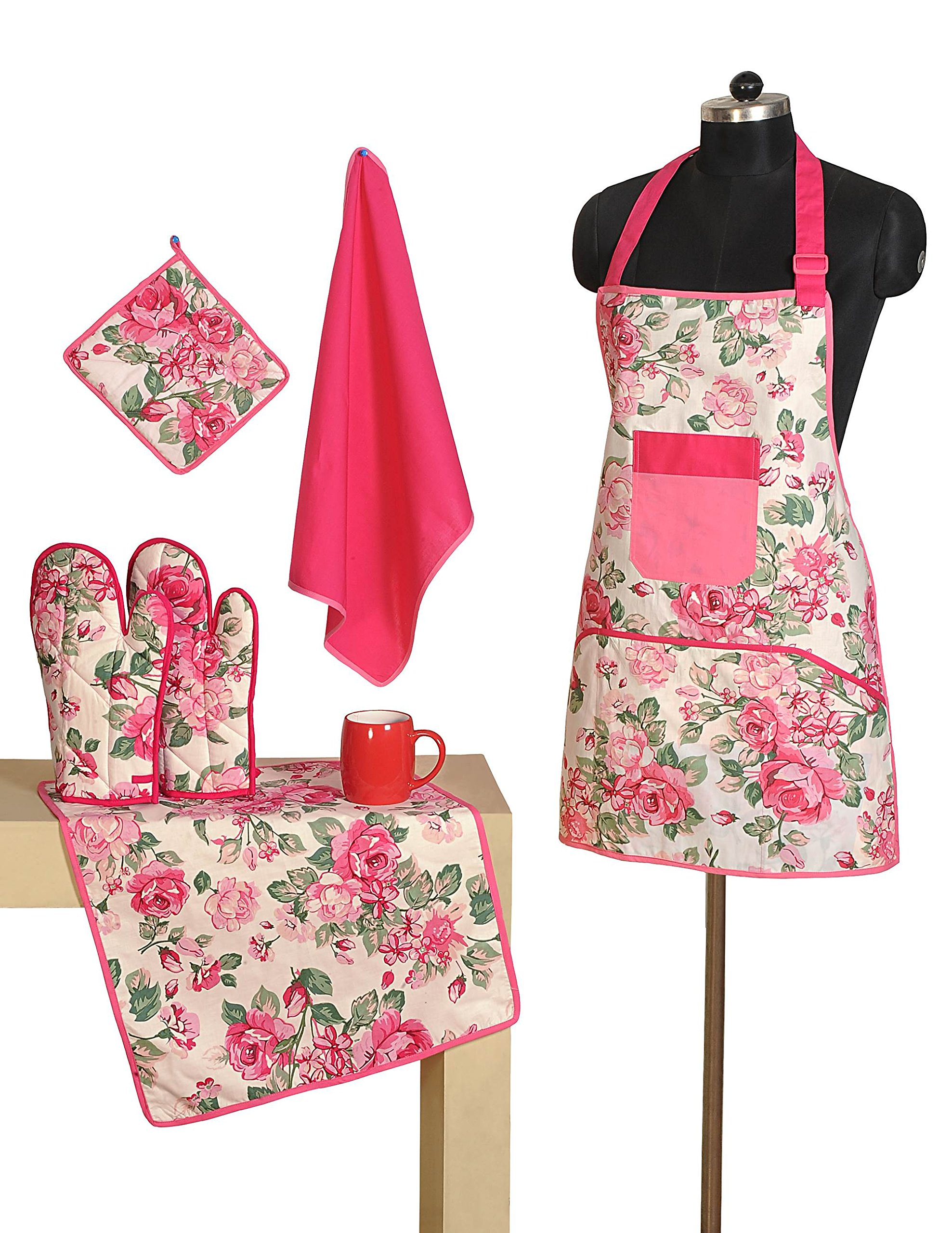 Handmade Patterned Cotton Chef's Apron Set with Pot Holder, Oven Mitts & Napkins - Perfect Home Kitchen Gift or Bridal Shower Gift by Swayam