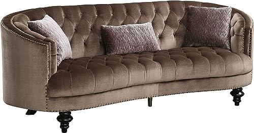 HOMES Inside Out Fraya Glam Flannelette Sofa, Brown