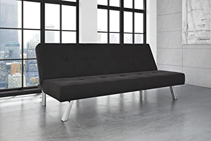 DHP Zany Futon Sofa Bed Sleeper, Durable Microfiber Upholstery And Sturdy  Chrome Legs. Adjustable