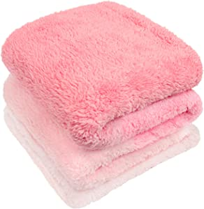 PAVILIA Fluffy Sherpa Throw Blanket Ombre | Gradient Plush, Soft, Fuzzy, Decorative Accent Throw Blanket for Couch Sofa Twin Bed | Cozy Warm Decorative Furry Faux Fur Blanket, 60x80 Inches Pink