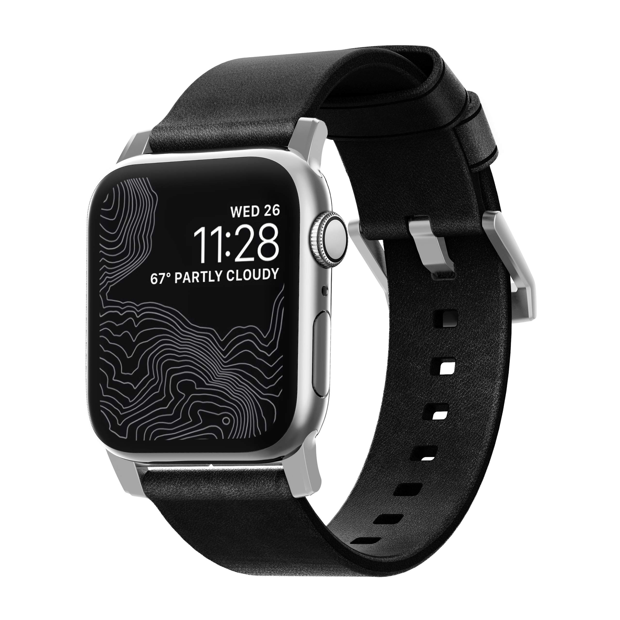 Nomad Modern Strap for Apple Watch 44mm/42mm | Black Horween Leather | Silver Hardware by Nomad