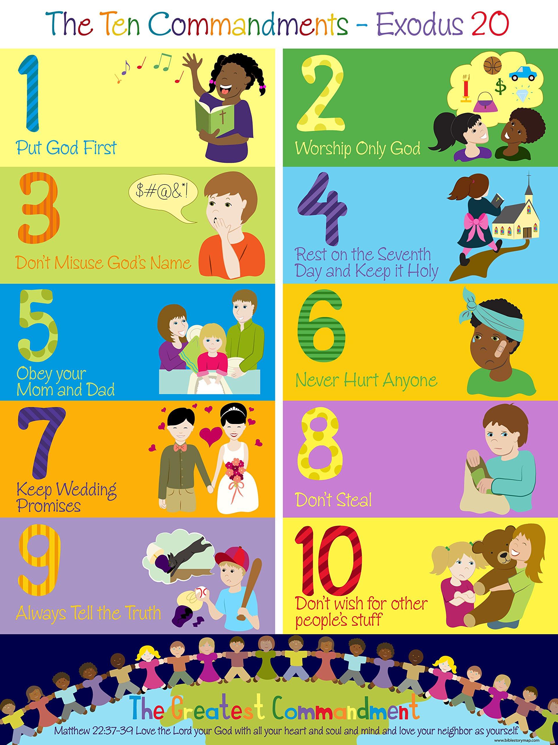 The Ten Commandments Poster For Kids 18 Quot X 24 Quot Amazon Com ...