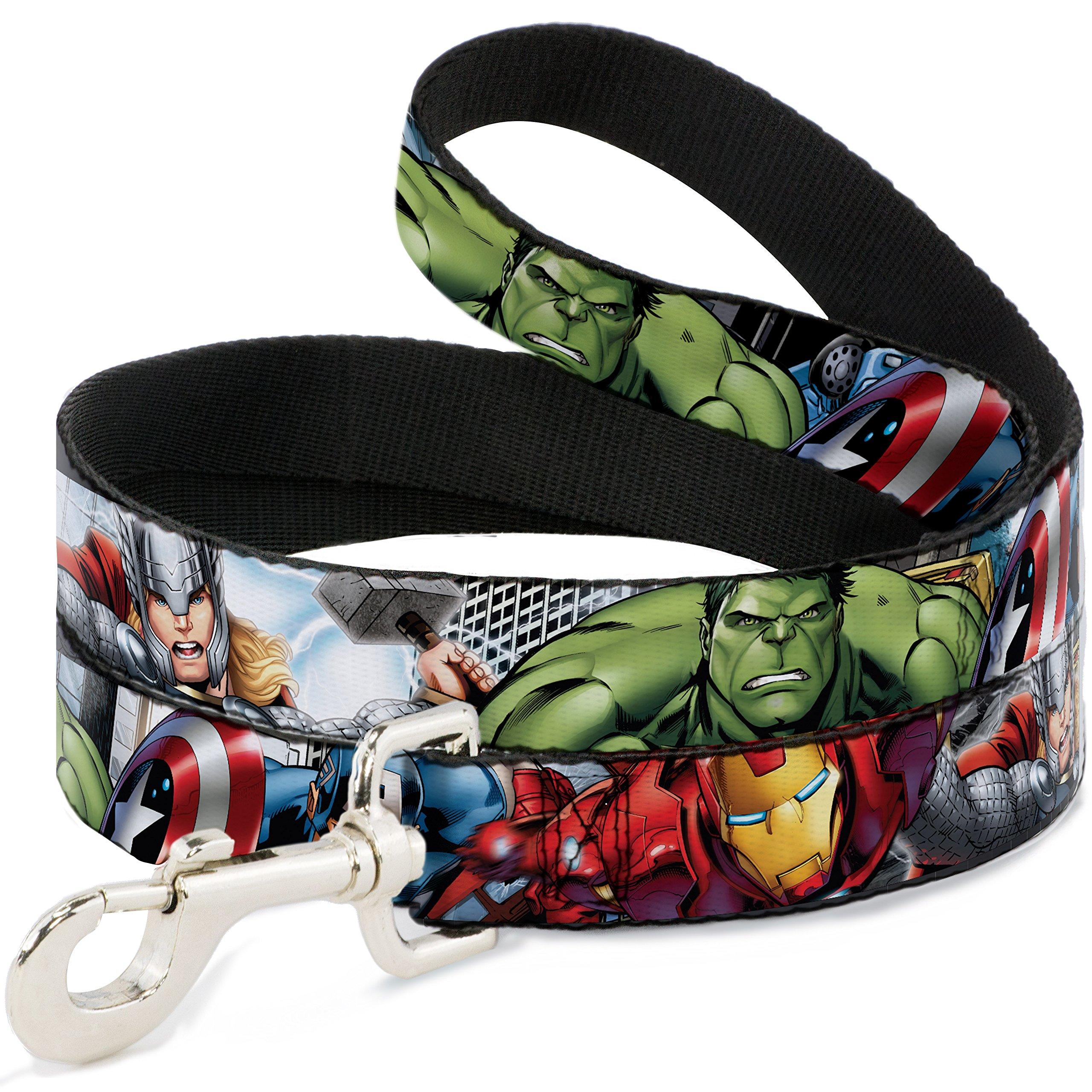 Buckle Down Dog Leash Marvel Avengers 4 Superhero Poses Close Up 6 Feet Long 1.0 Inch Wide