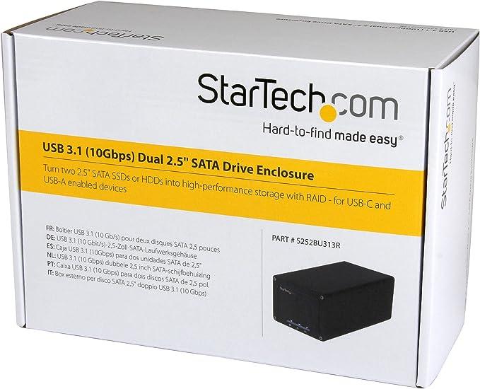 StarTech.com S252BU313R - Caja USB 3.1 de Dos bahías SATA con Raid y UASP de 2.5