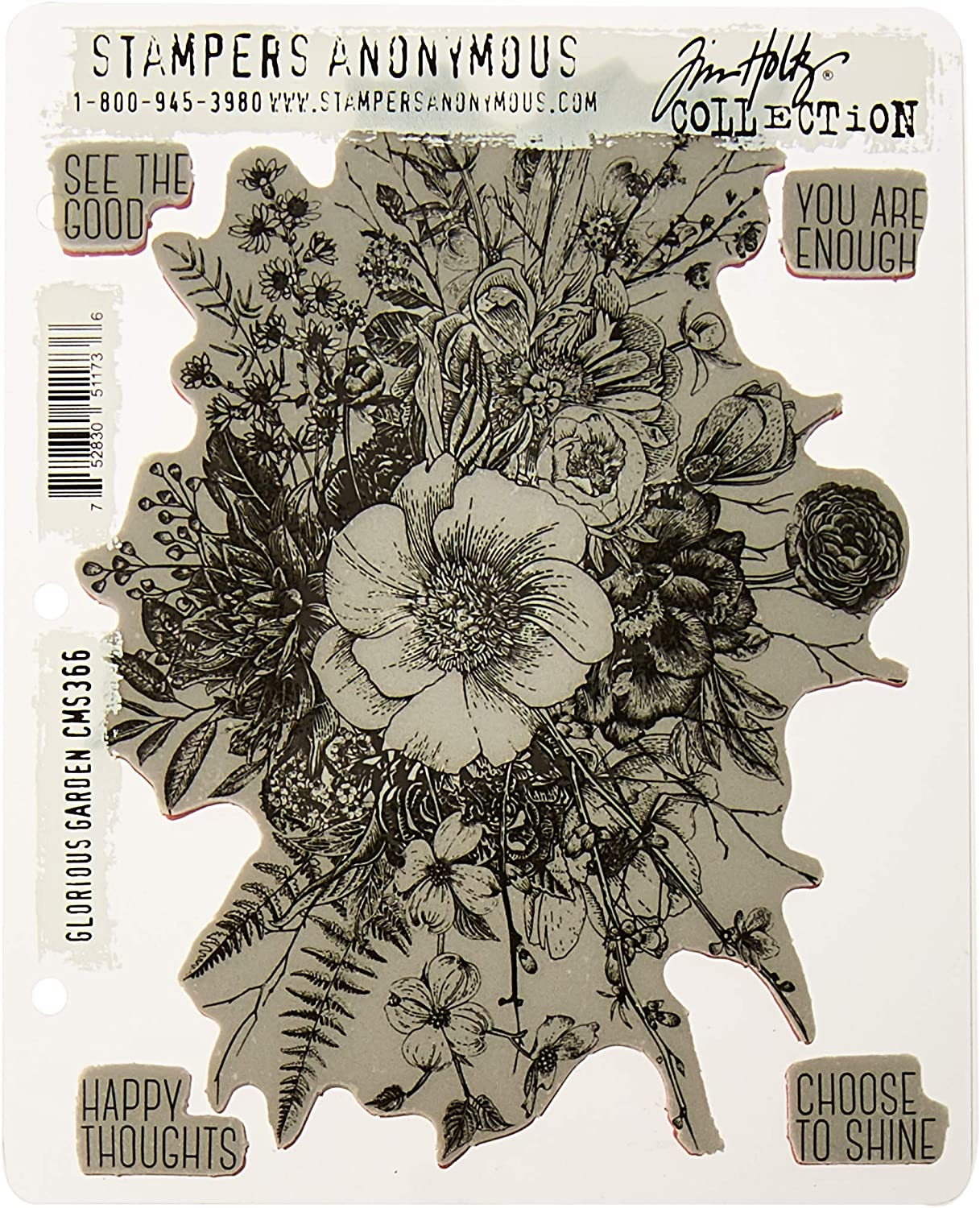 """Stampers Anonymous Tim Holtz Cling Stamps 7""""X8.5""""-Glorious Garden"""