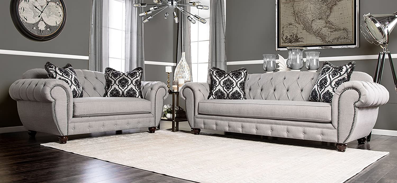 Furniture of america 2 piece bowie modern victorian tufted sofa set gray