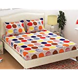 Homefab India Cotton Double Bedsheet with 2 Pillow Covers - Queen Size Bedsheet, 3D Pattern, Multicolor,Polka