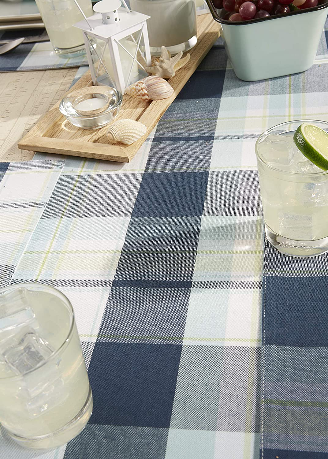 Cabin Plaid Square Tablecloth 52x52 - Seats 4 100/% Cotton with 1//2 Hem