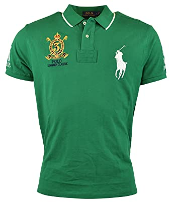 Polo Ralph Lauren Men\u0027s Custom-Fit Banner Polo Shirt (Small, English Green)