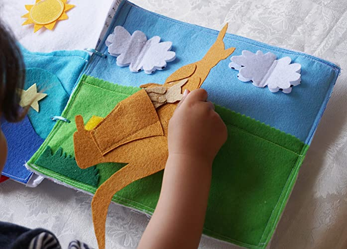 Amazon Kangaroo Mom And Baby Quiet Book Page Activity Birthday Gift For Toddler Handmade