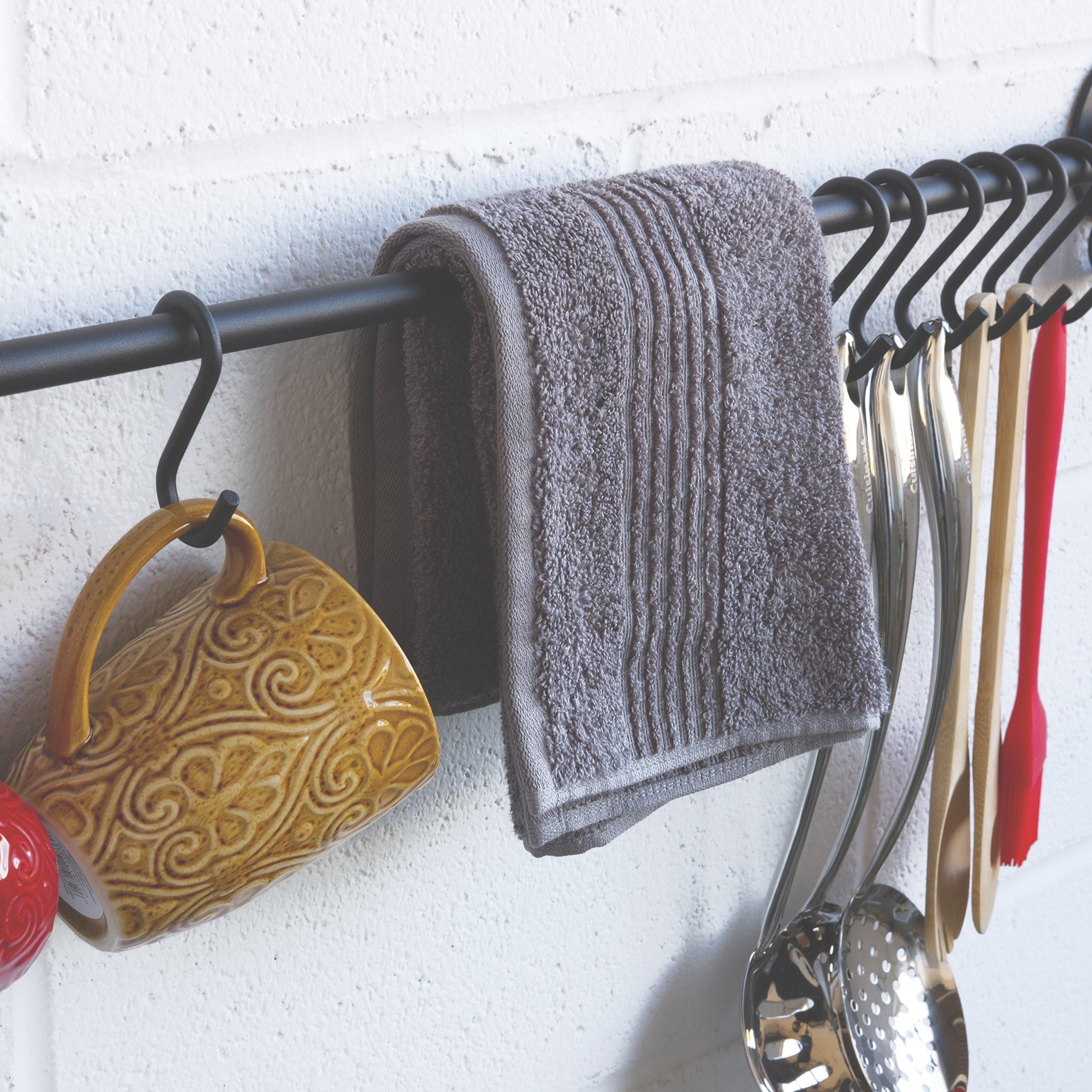 Wallniture Pot Pan Lid Rack Hanging Utensils Rail with Hooks Iron Black 33 Inch by Wallniture (Image #3)