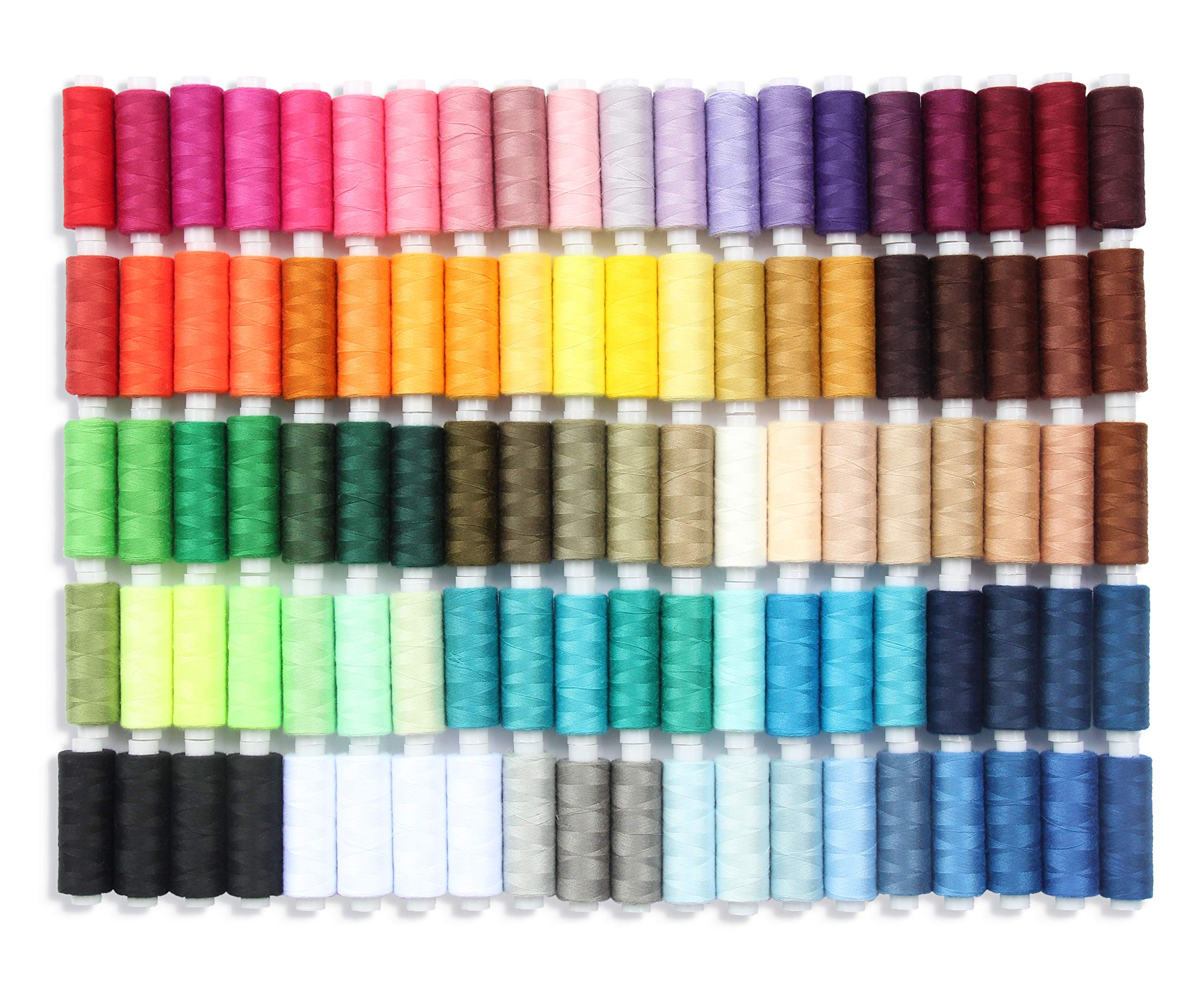 Sewing Thread Set of 100 All Purpose Polyester Threads, 250 Yards Per Spool in Assortment Colors Plus 4 Spools of Black and White Each, Good for Hand Stitching, Machine, Quilting & Crafts. by Sewing Aid