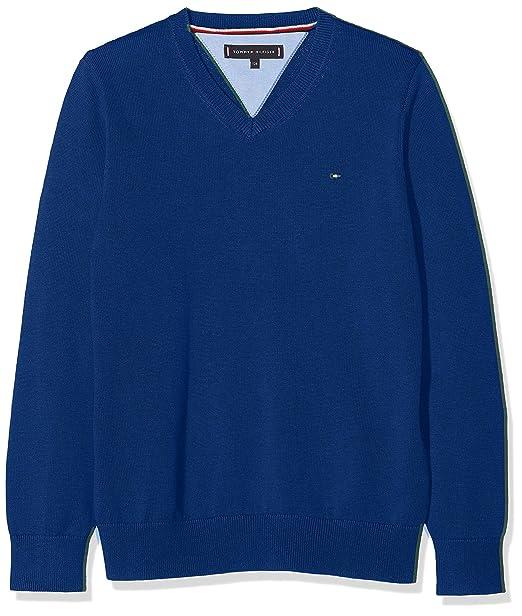 Tommy Hilfiger Essential Organic V-Neck Sweater suéter para Niños: Amazon.es: Ropa y accesorios