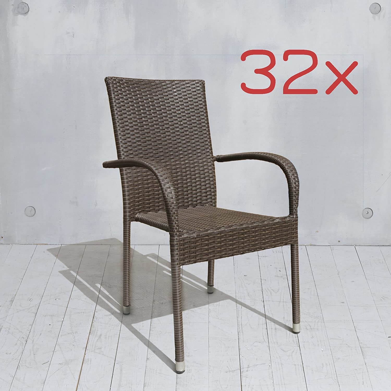32x Stapelstuhl Gartenstuhl braun Poly Rattan Stahl Balkonstuhl Stuhl Stühle Bistrostühle Gastrostühle