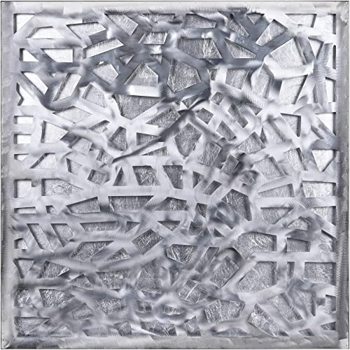 Empire Art Direct Silver Enigma Polished Steel Sculpture Abstract Wall Art Leaf 3D Metallic Artwork,Ready to Hang,Living Room