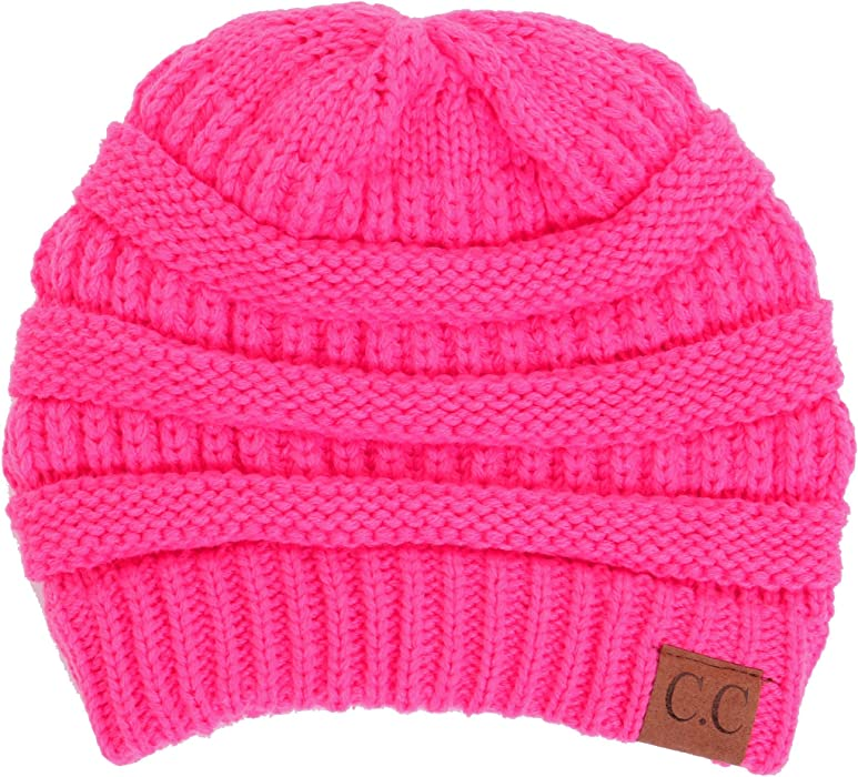 b7b692a92f5 BYSUMMER Warm Soft Cable Knit Skull Cap Slouchy Beanie Winter Hat (Candy  Pink) at Amazon Women s Clothing store