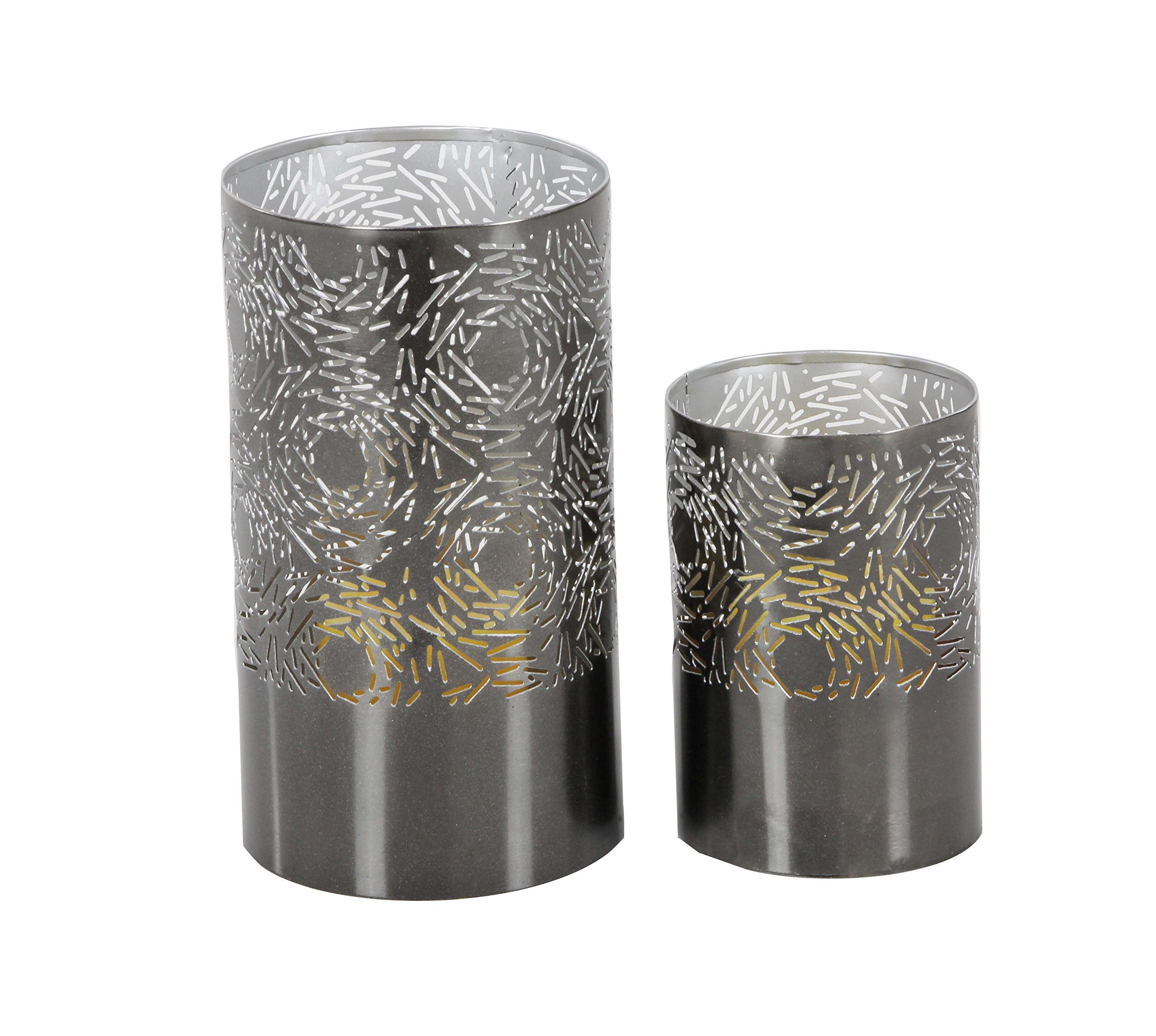 Deco 79 57361 Iron Cylindrical Candle Holders (Set of 2), 6'' x 9'', Gray by Deco 79