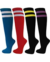 Couver Women's Colorful & Fun Striped Cotton Knee High Socks Assorted 4 Packs