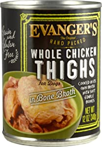Evanger's Hand-Packed Whole Chicken Thighs Canned Dog Food 12/12-oz cans