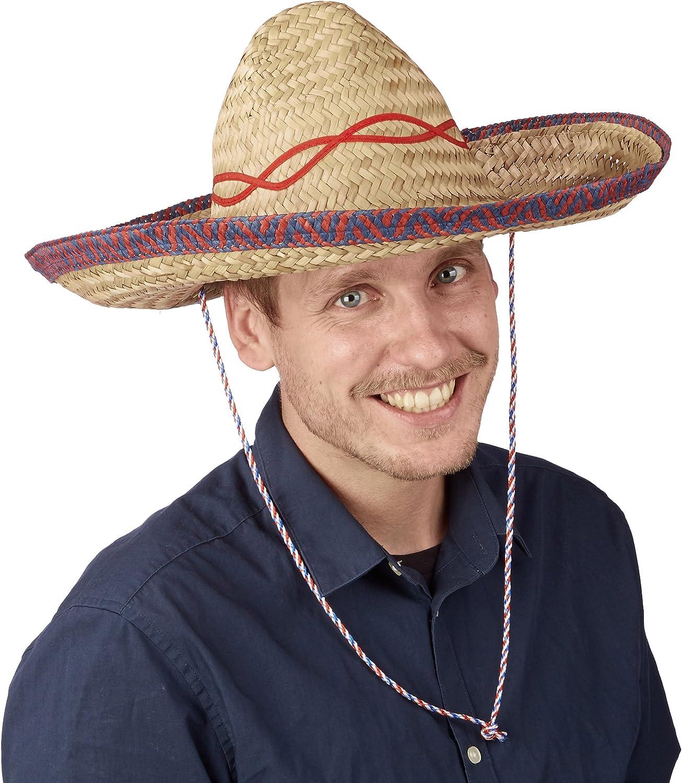 Relaxdays-Sombrero Mexicano, Gorro Fiesta, Accesorio Disfraz Mejicano, Cinta para la Barbilla, Paja, 1 Ud, 18 x 44 x 48 cm, Beige, color, talla única (10021527)