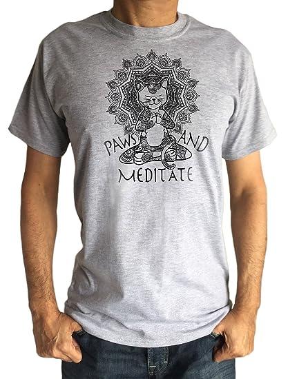 Amazon.com: Mens T-Shirt Yoga Cat Paws and Meditate - Lotus ...