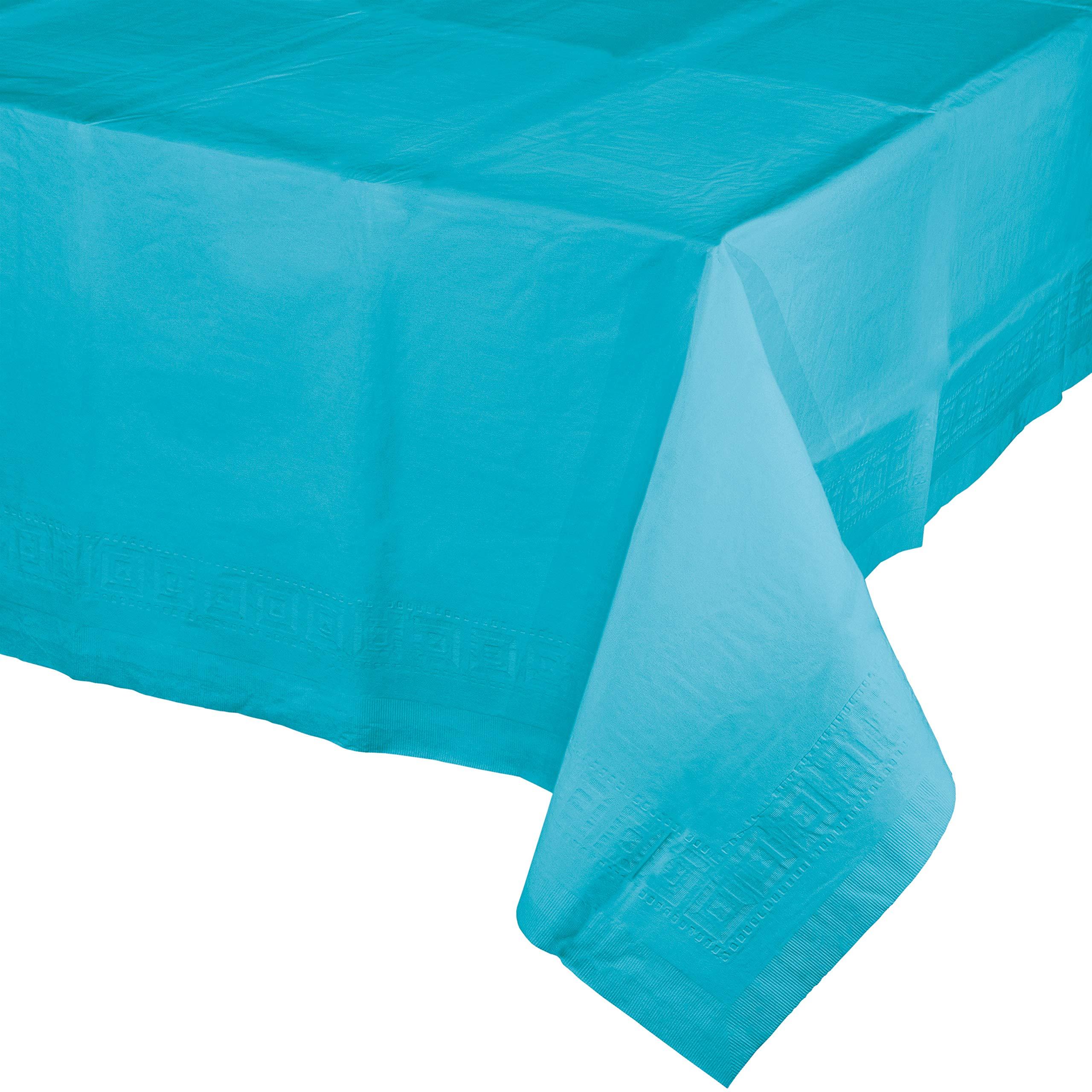 Bermuda Blue Paper Tablecloths, 3 ct