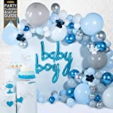 Baby Shower Decorations for Boy (129 Piece Premium Kit) Includes Step-by-Step Video Setup Instructions, Balloon Garland…
