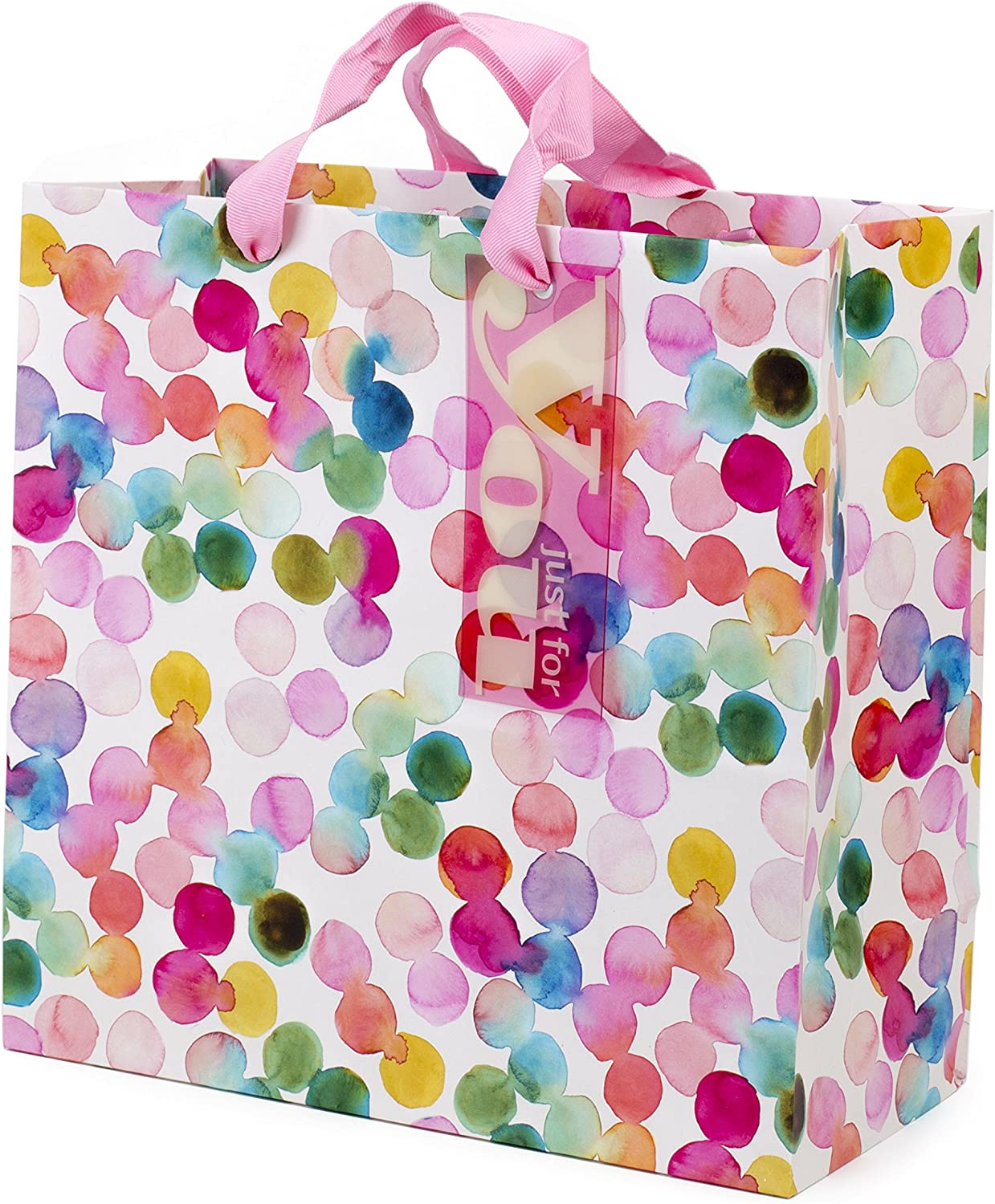 "Hallmark 10"" Large Square Gift Bag (Watercolor Dots, Just for You) for Birthdays, Mothers Day, Easter, Graduations, Retirements and More"