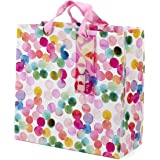 "Hallmark 10"" Large Square Gift Bag (Watercolor Dots, Just for You) for Birthdays, Mothers Day, Easter, Graduations…"