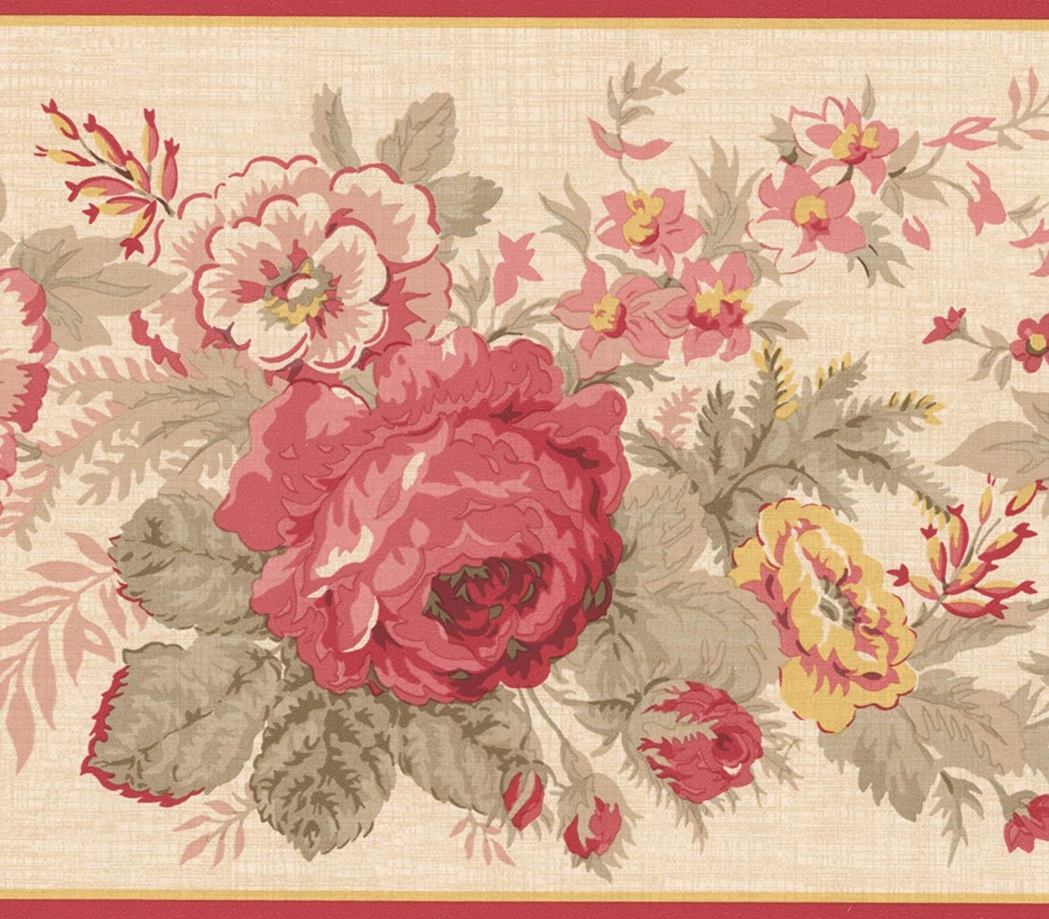 Red Yellow Blooming Flowers Floral Wallpaper Border Retro Design