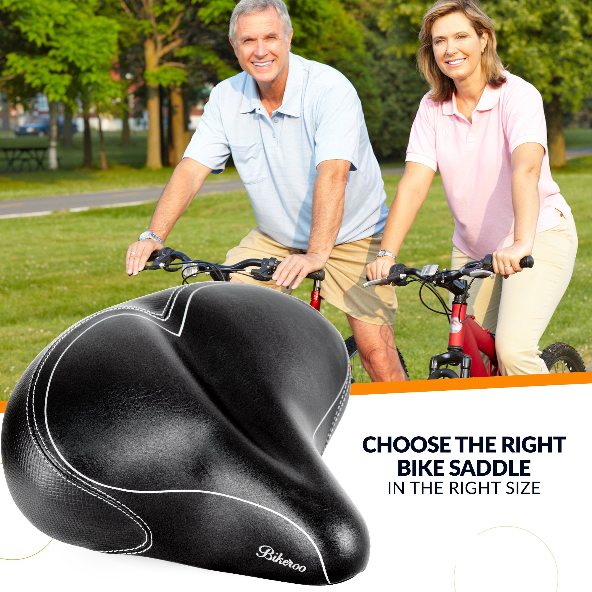 Bikeroo Oversized Comfort Bike Seat Most Comfortable Replacement Bicycle Saddle - Universal Fit for Exercise Bike and Outdoor Bikes - Wide Soft Padded Bike Saddle for Women and Men by Bikeroo (Image #9)