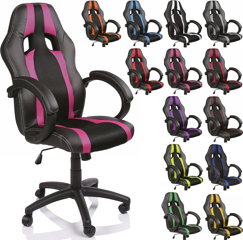 TRESKO Silla de oficina Racing silla de escritorio ordenador giratoria disponible en 14 colores, bicolor, silla Gaming ergonómica, pistón de gas certificado por SGS, (Negro/Rosa)
