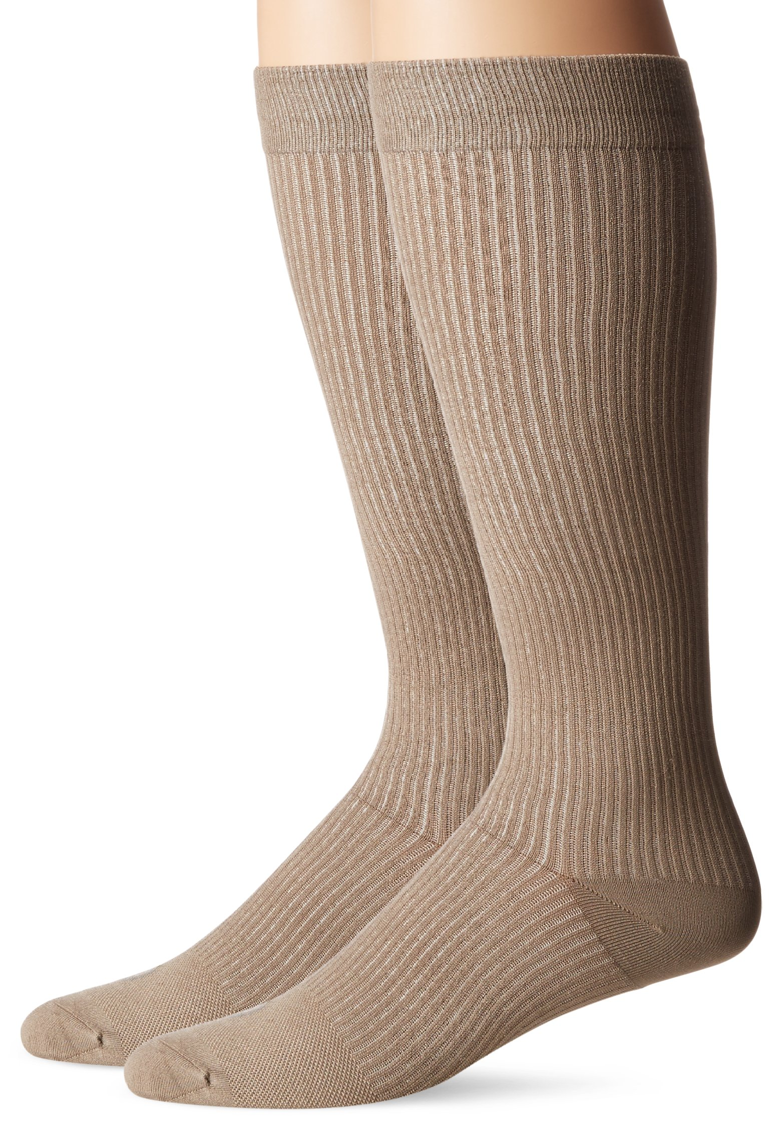 Doctor's Choice Men's Graduated Compression Over-the-Calf 2-Pack, Tan, Sock Size: 10-13/Shoe Size:6-12.5
