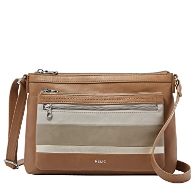 cbebadb3cc67 Amazon.com: Relic by Fossil Women's Evie Crossbody Handbag Purse, Color:  Tan/Gold: Clothing