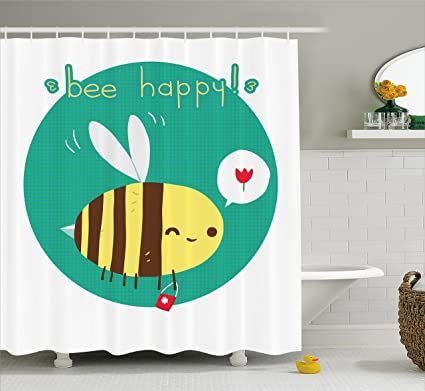 Ambesonne Queen Bee Shower Curtain Winking Bumblebee Cartoon Doodle With Happy Quote Circle Abstract