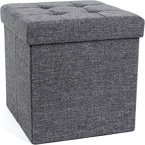 SONGMICS 15 x 15 x 15 Inches Folding Storage Ottoman Cube Footrest Stool Coffee Table Puppy Step
