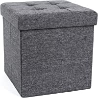 SONGMICS Fire Safety Folding Storage Ottoman Picnic Seat Versatile Space-saving Cubes Box Max Load 300 kg Linenette 38 x 38 x 38 cm