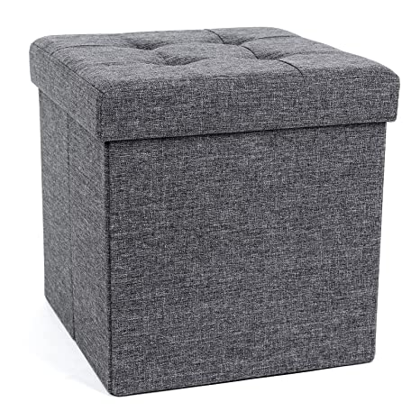 Surprising Songmics 15 X 15 X 15 Inches Folding Storage Ottoman Cube Footrest Stool Coffee Table Puppy Step Holds Up To 660Lb Fabric Dark Grey Ulsf27Z Machost Co Dining Chair Design Ideas Machostcouk