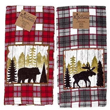 Kay Dee Kitchen Terry Towels 2pc Set Cabin Moose Bear Mountain Life Value Set