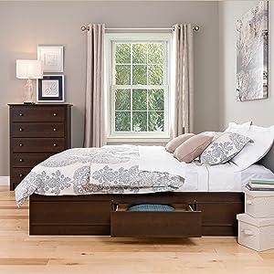 Prepac Full Mate's Platform Storage Bed with 6 Drawers, Espresso