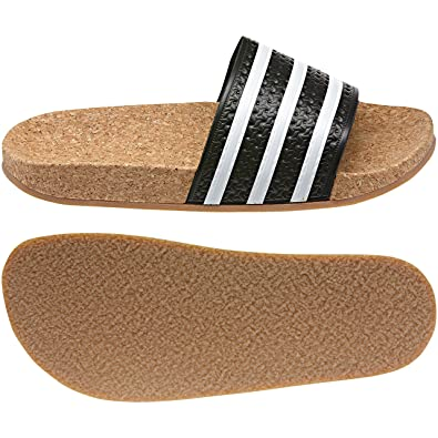 adidas Women s Original Adilette Cork Sandals White Black BROWNNEW (9 B(M ff923a3bbc